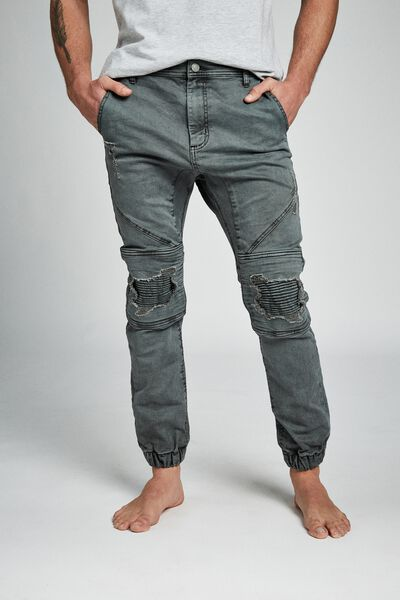 Slim Denim Jogger, PETROL BLUE RIPPED MOTO
