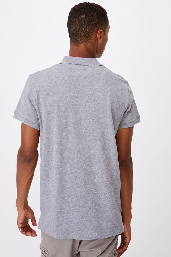 Essential Short Sleeve Polo, GREY MARLE