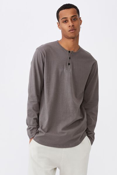 Longline Scoop Henley Long Sleeve T-Shirt, SLATE STONE