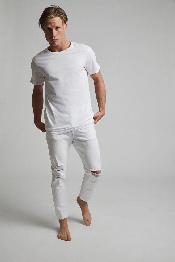 Raw Crop Jean, WHITE BLOWOUT