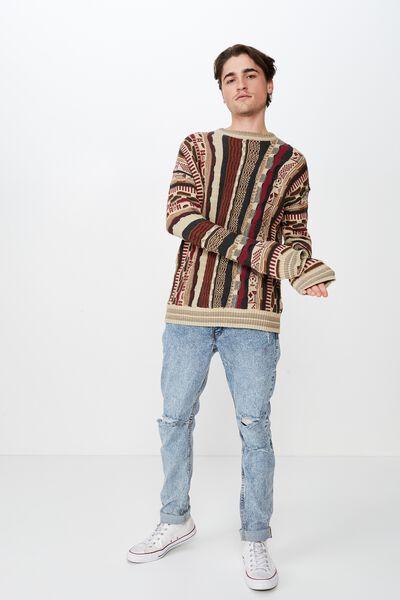 Vintage Multi Knit, BURGUNDY MULTI