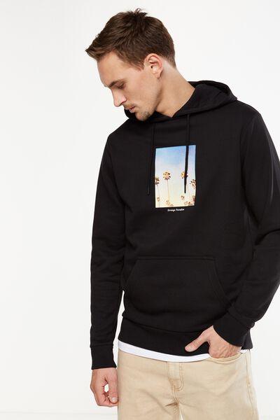 Fleece Pullover 2, BLACK/STRANGE PALMS