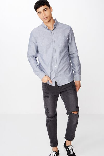 Brunswick Shirt 3, GREY WHITE OXFORD