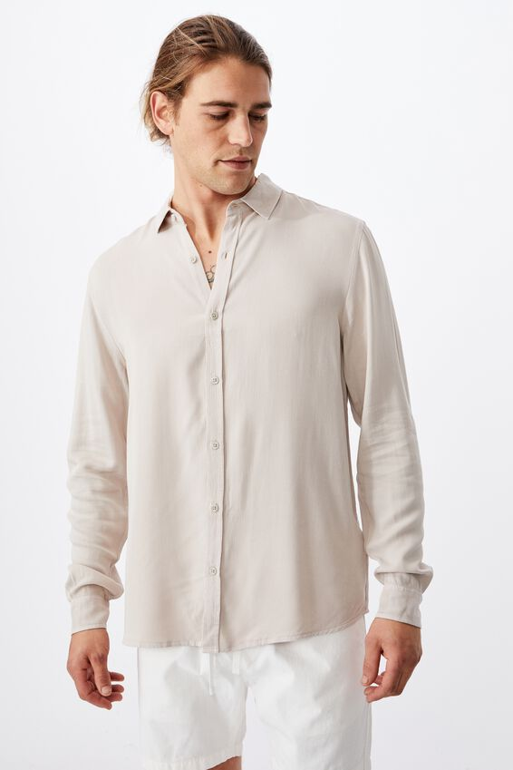91 Long Sleeve Shirt, STONE