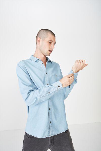Long Sleeve Denim Shirt, DISTRESSED LIGHT INDIGO DENIM