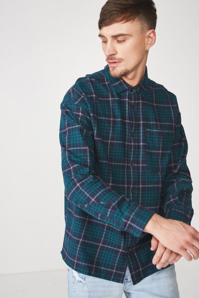 Rugged Long Sleeve Shirt, NAVY GREEN CHECK