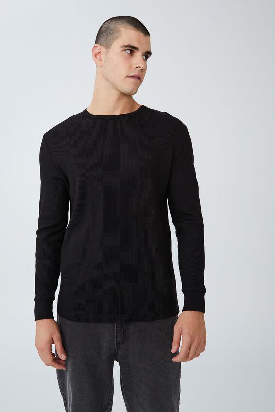 Waffle Long Sleeve T-Shirt, BLACK
