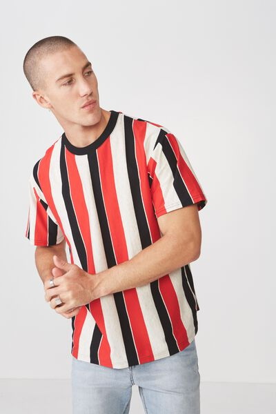 Downtown Loose Fit Tee, WHITE MARLE/STRONG RED/BLACK VERTICAL STRIPE