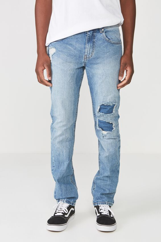 Slim Fit Jean, VINTAGE BLUE PATCHED