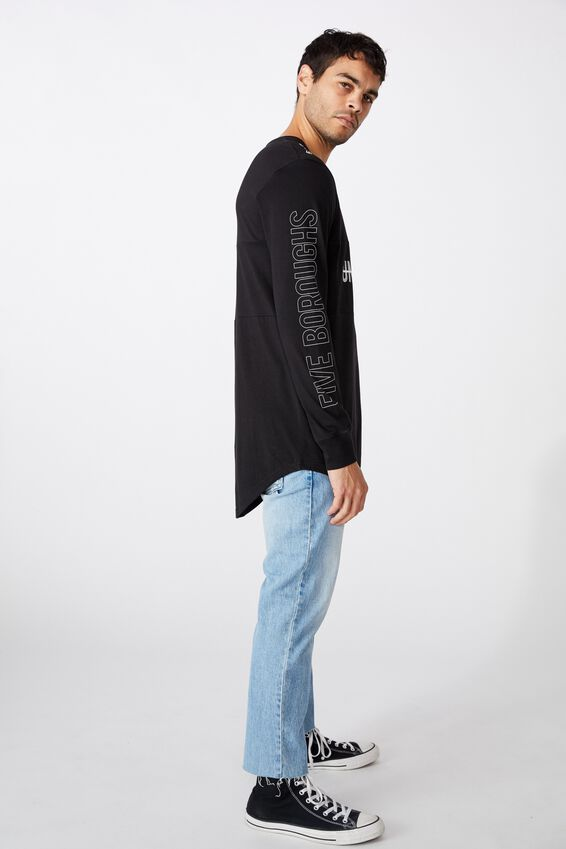 Long Sleeve Curved Hem, BLACK/UNDERGRXND STRIKE