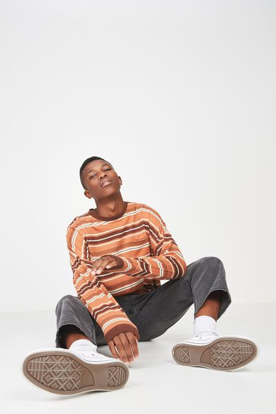 Drop Shoulder Long Sleeve, VINTAGE BROWN STRIPE