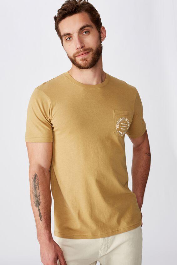 Tbar Text T-Shirt, CAMEL/GENERAL BRAND POCKET