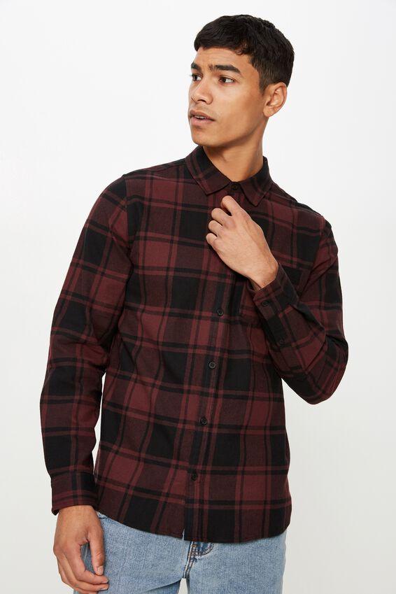 Rugged Long Sleeve Shirt, BLACK BURG CHECK
