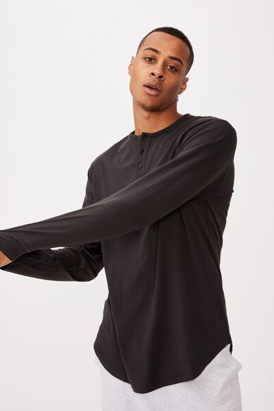 Longline Scoop Henley Long Sleeve T-Shirt, WASHED BLACK