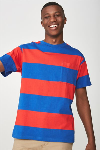 Downtown Loose Fit Tee, BLUE/RED BOLD STRIPE
