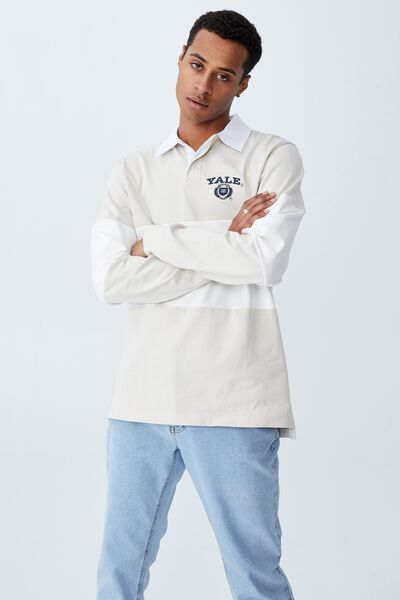 Rugby Collab Long Sleeve Polo, LCN YAL BONE VINTAGE WHITE/YALE MID PANEL