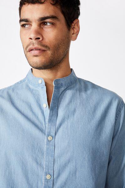 Banded Collar Shirt, BLEACH