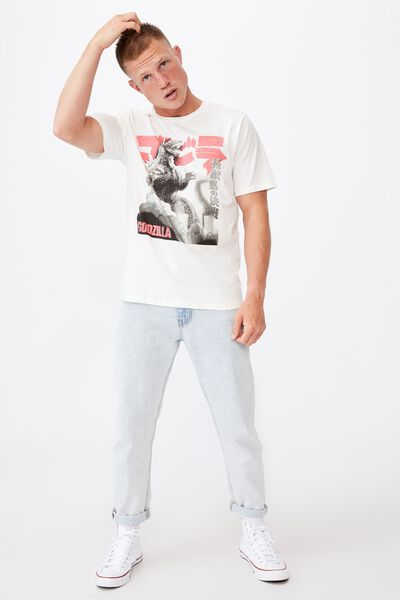 Tbar Collab Movie And Tv T-Shirt, LCN GOD VINTAGE WHITE/GODZILLA-RED AND BLACK