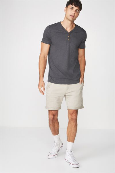 Essential Henley T-Shirt, CHARCOAL MARLE