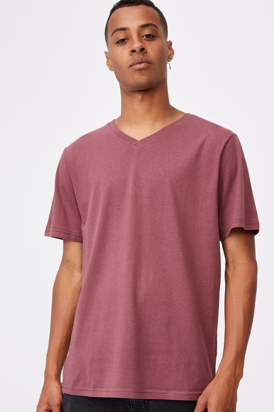 Essential Vee Neck T-Shirt, AGED WINE