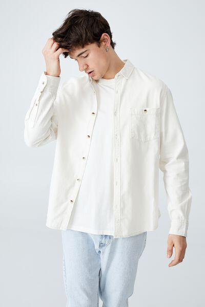 Camden Long Sleeve Shirt, ECRU DENIM