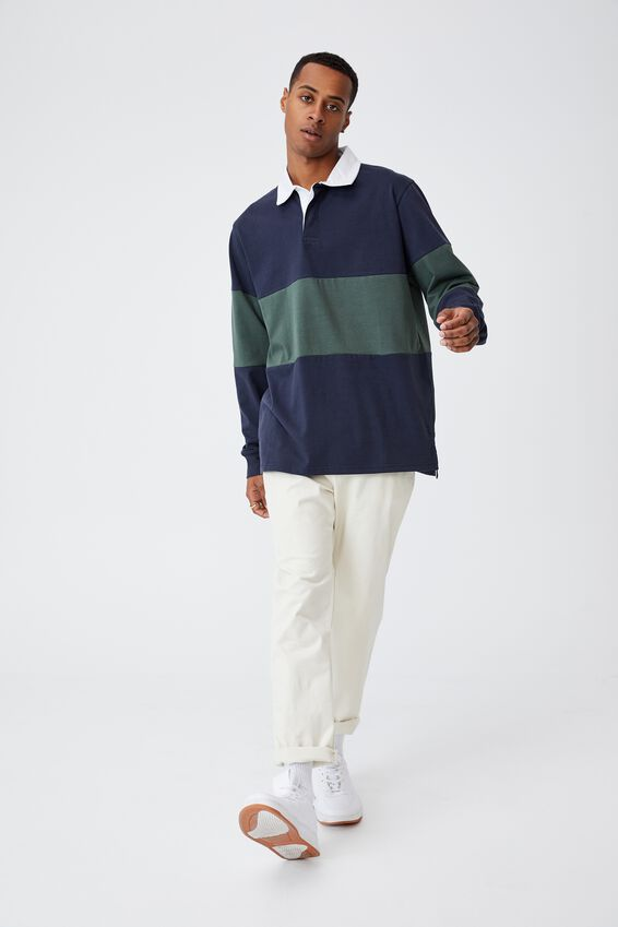 Rugby Long Sleeve Polo, TRUE NAVY/FOREST GREEN MID PANEL