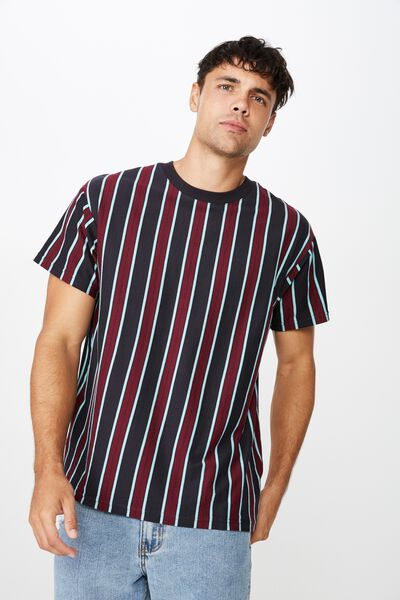 Downtown Loose Fit Tee, INK NAVY/PORT WINE/BALTIC BLUE VERTICAL STRIPE