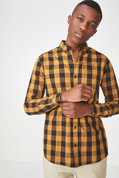 Brunswick Shirt 3, BLACK MUSTARD CHECK