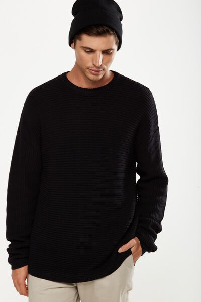 Scoop Hem Rib Knit, BLACK