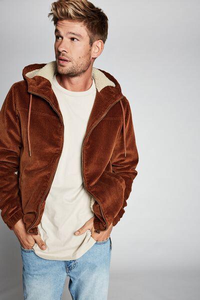 Hooded Cord Jacket, RUST