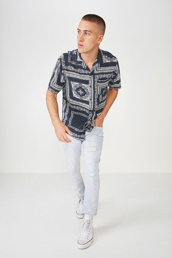 91 Short Sleeve Shirt, NAVY BANDANA