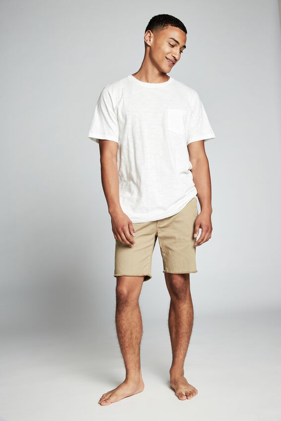 Raw Hem Chino, WASHED STONE