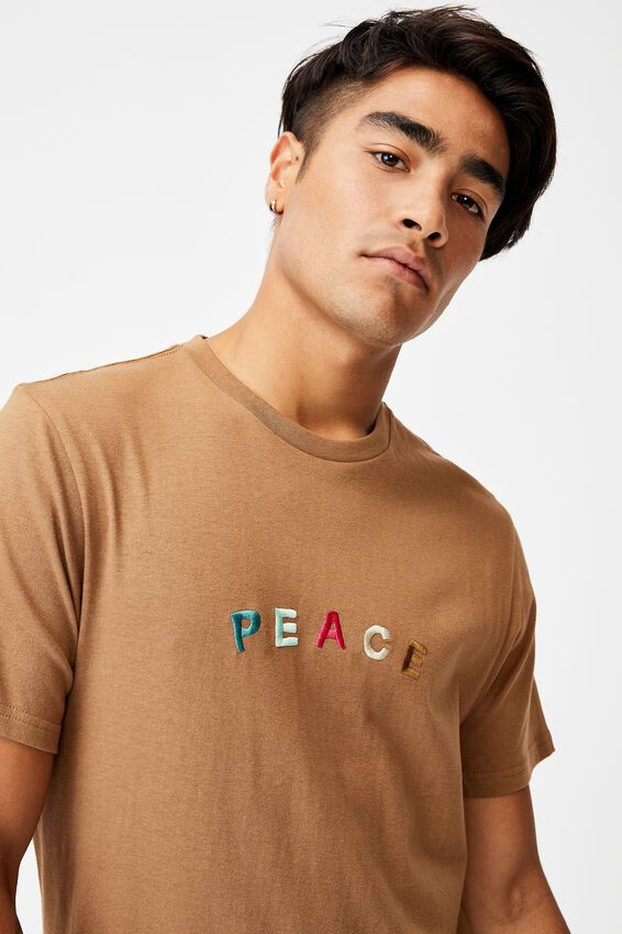 Tbar Text T-Shirt, BURNT ALMOND/PEACE EMBROIDERY