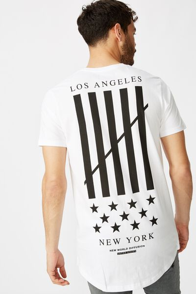 Longline Scoop Hem Tee, WHITE/NEW WORLD DIFFUSION