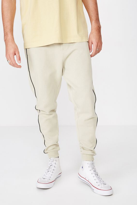 Trippy Slim Trackie, PALE SAND PIPING