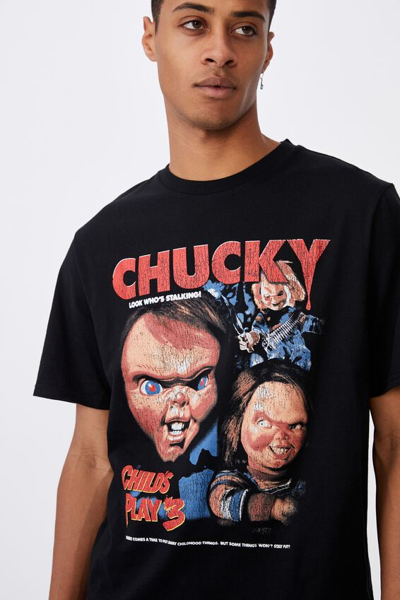 Tbar Collab Movie And Tv T-Shirt, LCN UNI BLACK/CHUCKY-CHILD S PLAY 3
