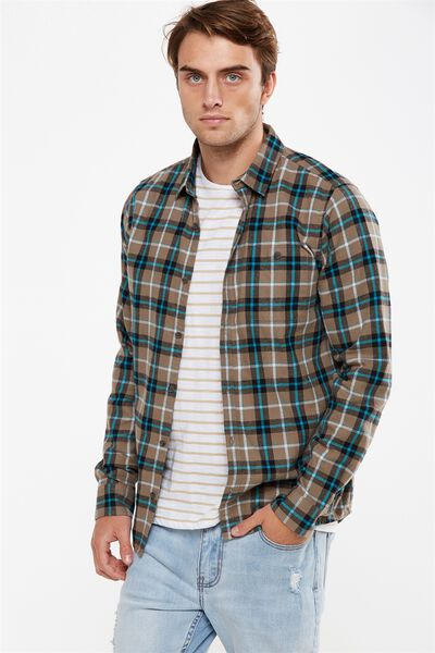 Rugged Long Sleeve Shirt, TAN CHECK