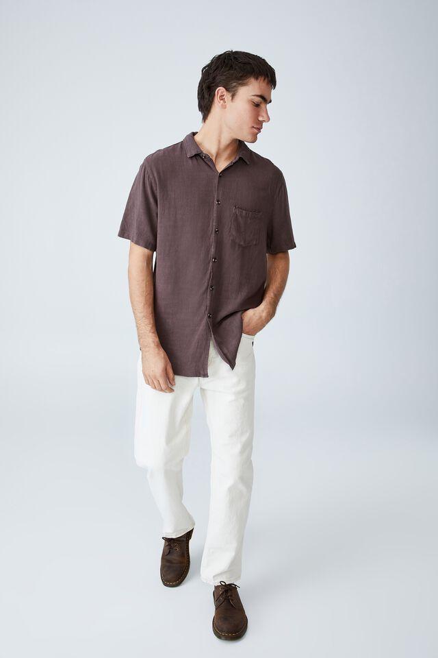 Ace Short Sleeve Shirt, WASHED CHOCOLATE