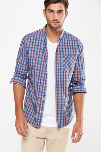 Brunswick Shirt 3, BLUE ORANGE CHECK