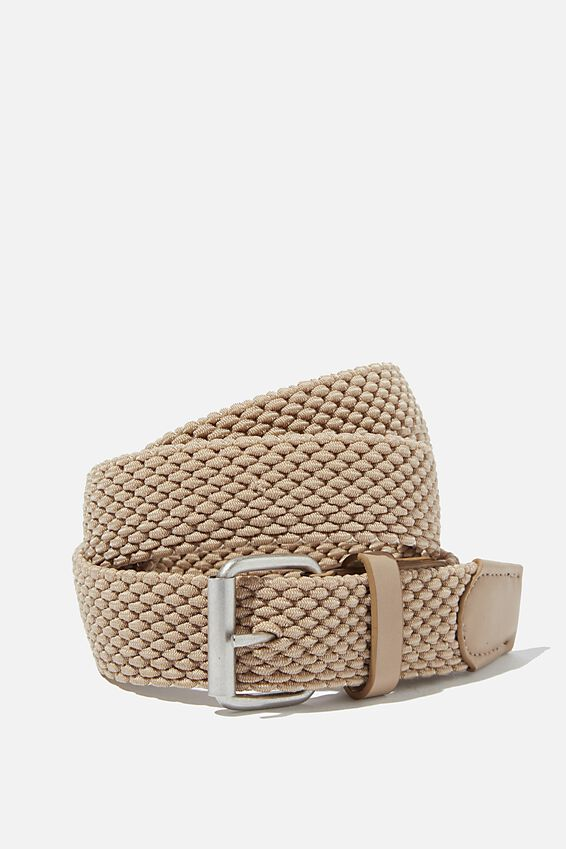 Hampton Plait Belt, STONE/BRUSHED SILVER