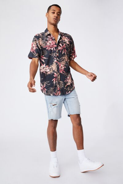Short Sleeve Resort Shirt, CHINESE GARDEN BLACK