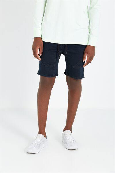 Customised Denim Short, MOTO TOMB BLUE