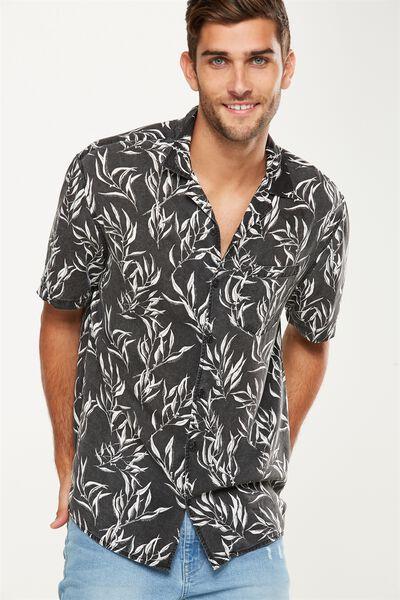91 Short Sleeve Shirt, BLACK GUMLEAVES