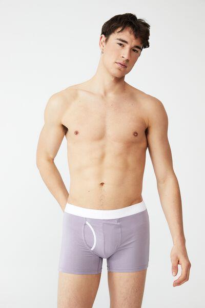 Mens Organic Cotton Trunks, LILAC/WHITE
