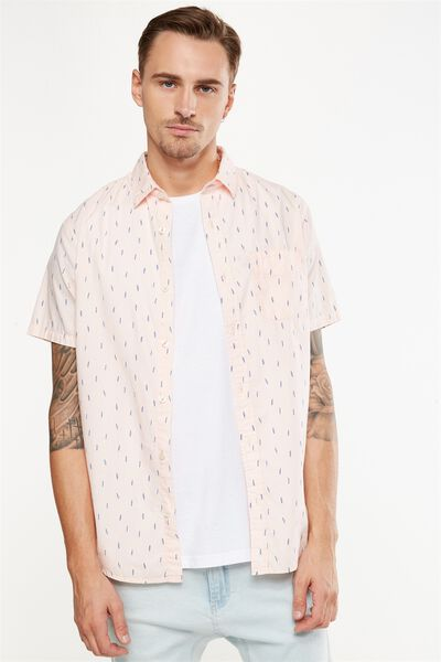 Vintage Prep Short Sleeve Shirt, PINK MICRO PRINT