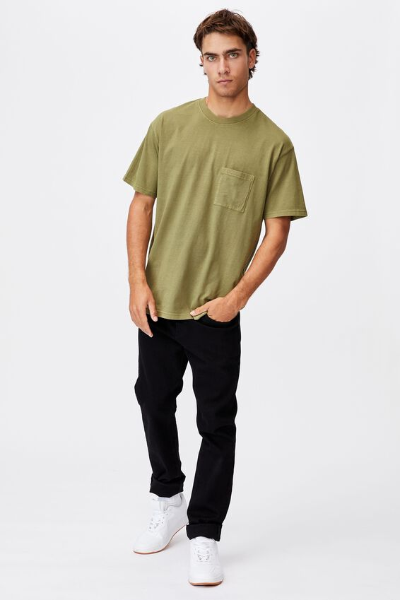 Washed Pocket T-Shirt, GRASS GREEN
