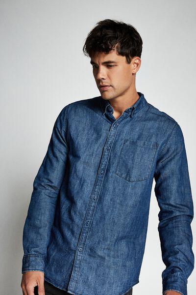 Premium Denim Linen Shirt, DARK INDIGO