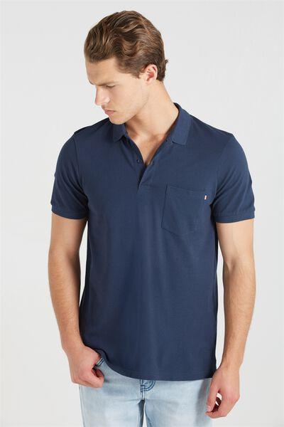 Short Sleeve Icon Polo Regular Fit, NAVY/ POCKET