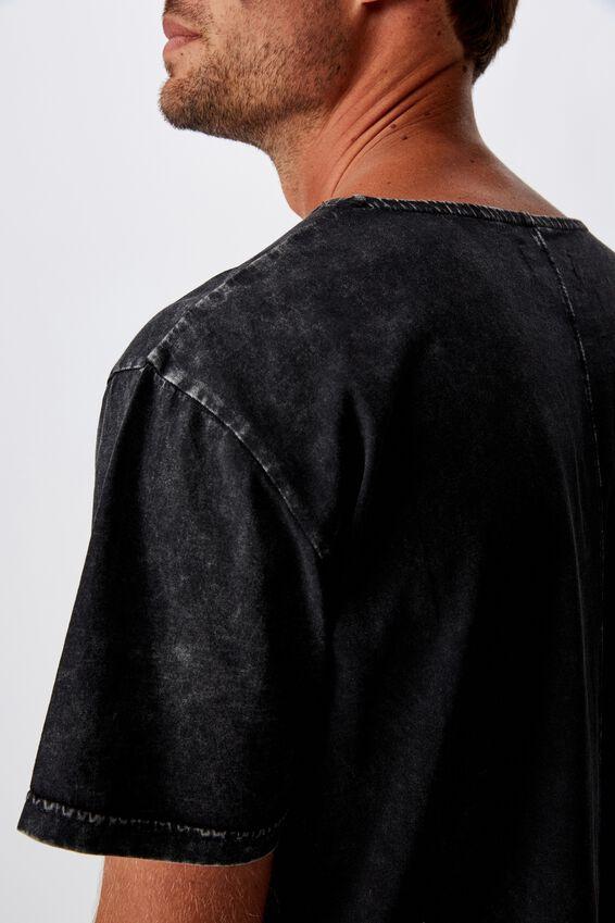 Longline Scoop Burnout T-Shirt, WASHED BLACK ACID