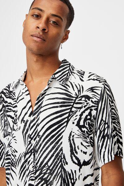 Short Sleeve Resort Shirt, WHITE TIGER PALMS